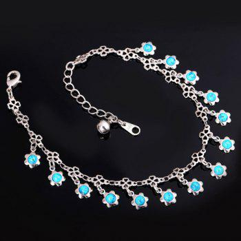 Gorgeous Faux Turquoise Floral Anklet For Women
