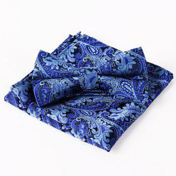 Stylish Men's Royalblue Arabesque Jacquard Bow Tie and Handkerchief
