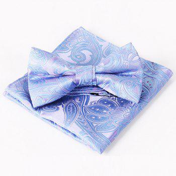 Stylish Men's Paisley Jacquard Ethnic Bow Tie and Handkerchief