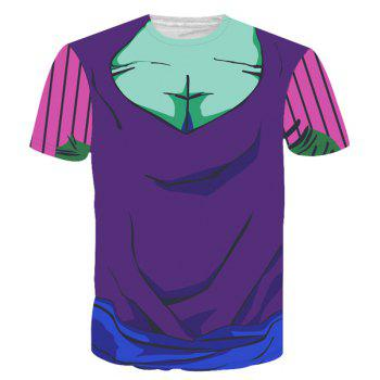 Round Neck Color Block 3D Cartoon Costume Printed Slimming Short Sleeve Men's T-Shirt