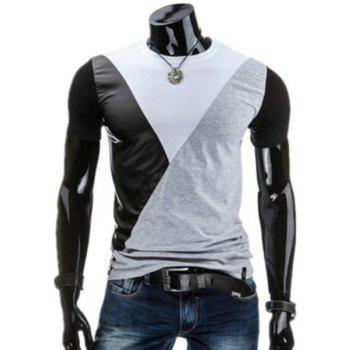 PU-Leather Spliced Design Round Neck Short Sleeve Men's T-Shirt