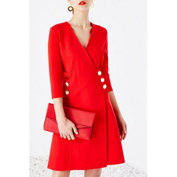 Elegant V Neck 3/4 Sleeve Double-Breasted Red Women's Wrap Dress