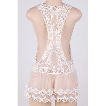 See-Through Crochet Swimsuit Cover-Up - WHITE ONE SIZE(FIT SIZE XS TO M)