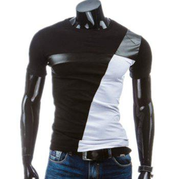 PU-Leather Splicing Design Round Neck Short Sleeve Men's T-Shirt