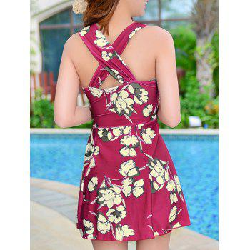 Skirted Floral Print One Piece Swimsuit - WINE RED XL