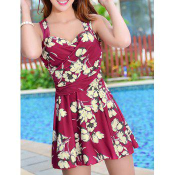 Skirted Floral Print One Piece Swimsuit