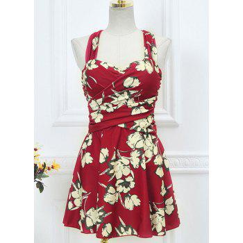 Skirted Floral Print One Piece Swimsuit - WINE RED M