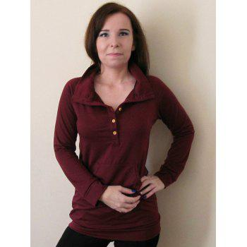 Simple Style Buttoned Stand Collar Solid Color Long T-Shirt For Women - CLARET XL