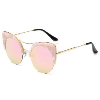 Chic Marble Pattern Semi-Rimless Butterfly Frame Women's Sunglasses - PINK PINK