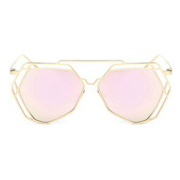 Chic Hollow Out Polygon Frame Women's Golden Sunglasses - PINK PINK