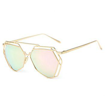 Chic Hollow Out Polygon Frame Women's Golden Sunglasses -  PINK