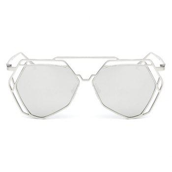Chic Hollow Out Polygon Frame Women's Silver Sunglasses - SILVER SILVER