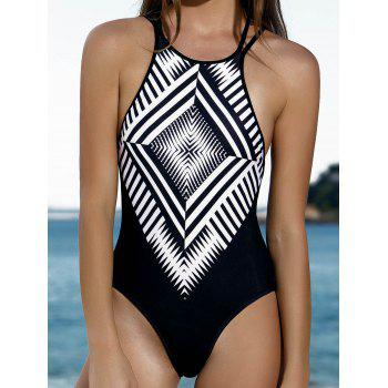 Stylish Women Jewel Neck Geometric Pattern One-Piece Swimsuit - BLACK M