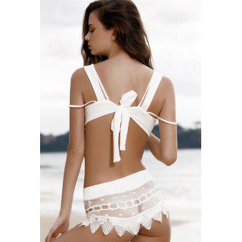 Stylish Cami Lace Spliced Women's Bikini Set - WHITE S
