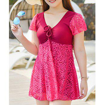 Stylish Lace Spliced Solid Color One-Piece Dress Swimwear For Women