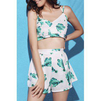 Stylish Printed Crop Top and Pleated Shorts Women's Suit