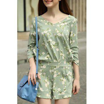 Elegant V-Neck 3/4 Sleeve Flower Print Women's Green Playsuit