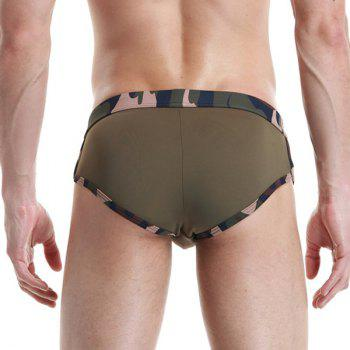 New Style Low Waist Star Embroidered Camo Men's Briefs Swimming Trunks - ARMY GREEN M