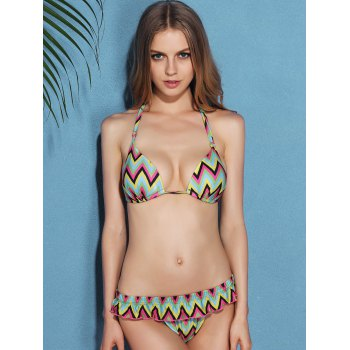 Trendy Halter Backless Zig Zag Women's Bikini Set - YELLOW L