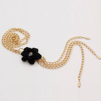 Elegant Faux Crystal Flower Tassel Necklace For Women - GOLDEN
