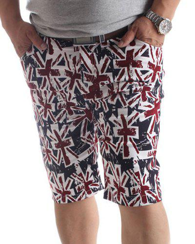 Loose Fit Plus Size Flag Printed Shorts For Men - CLARET 4XL