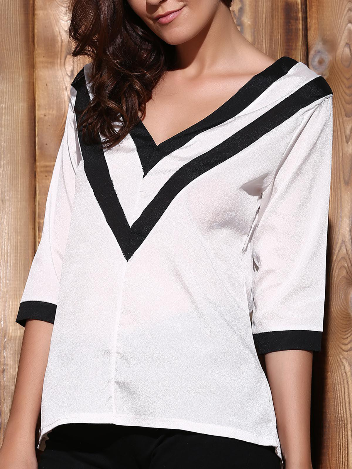 Trendy Plunging Neck 3/4 Sleeve Striped Loose-Fitting T-Shirt Women's T-Shirt - WHITE S