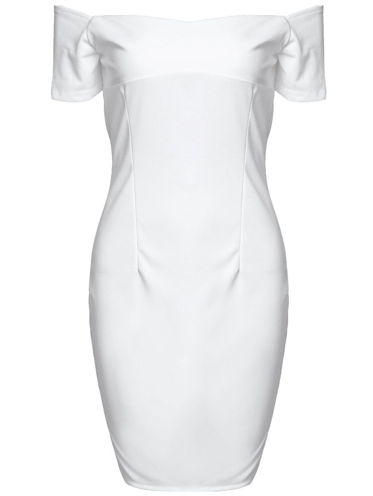 Stylish Women's Off The Shoulder Short Sleeve Solid Color Bodycon Dress - WHITE L