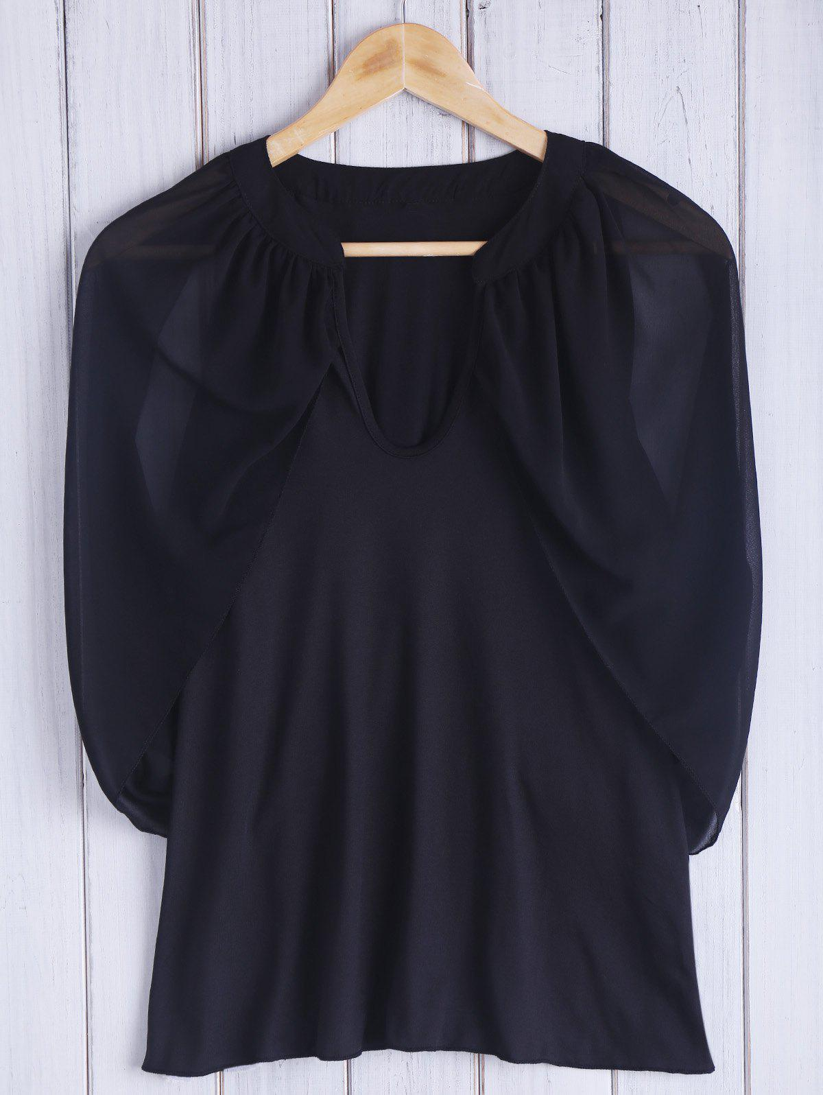 Chic Keyhole Neck 3/4 Sleeve Black Cold Shoulder See-Through Women's Blouse - BLACK S
