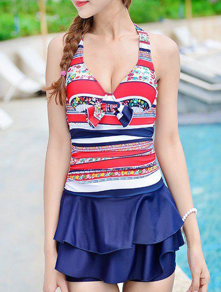 Cute Halter Striped Ruffled Underwire One-Piece Swimwear For Women - PURPLISH BLUE L