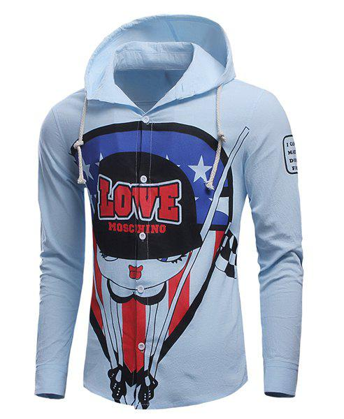 Slimming Hooded Cartoon Figure Letters Print Long Sleeves Men's Shirt - AZURE M