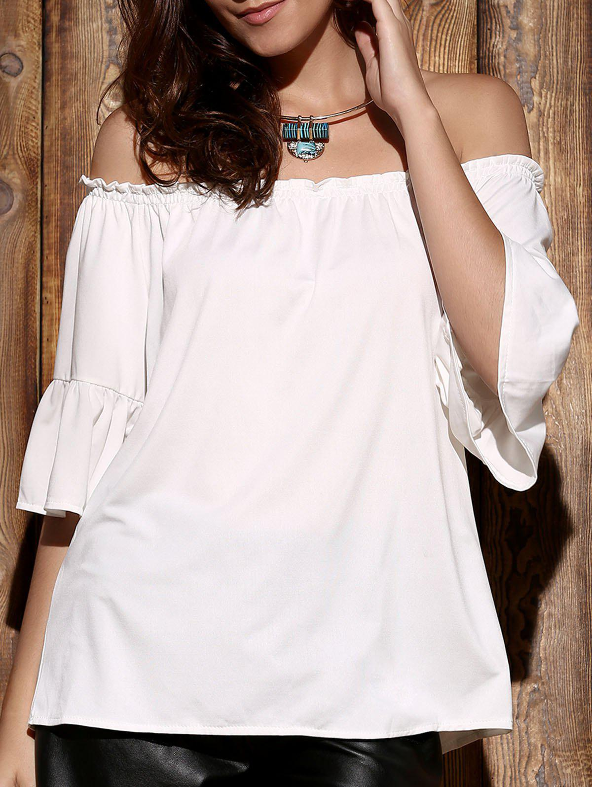 Endearing Off-The-Shoulder Flare Sleeve Pleated White Blouse For Women