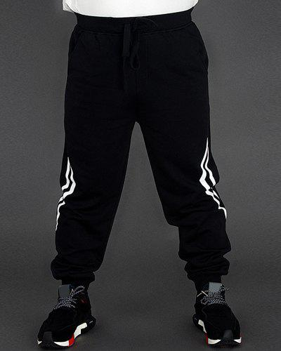 Men's Loose Fit Plus Size Lace Up Sports Style Printing Pants - BLACK 2XL