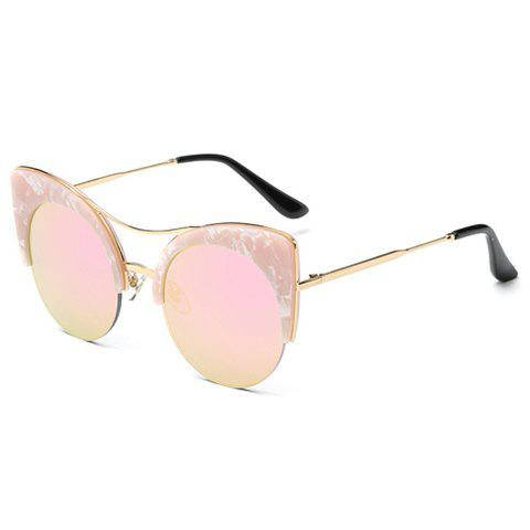Chic Marble Pattern Semi-Rimless Butterfly Frame Women's Sunglasses - PINK
