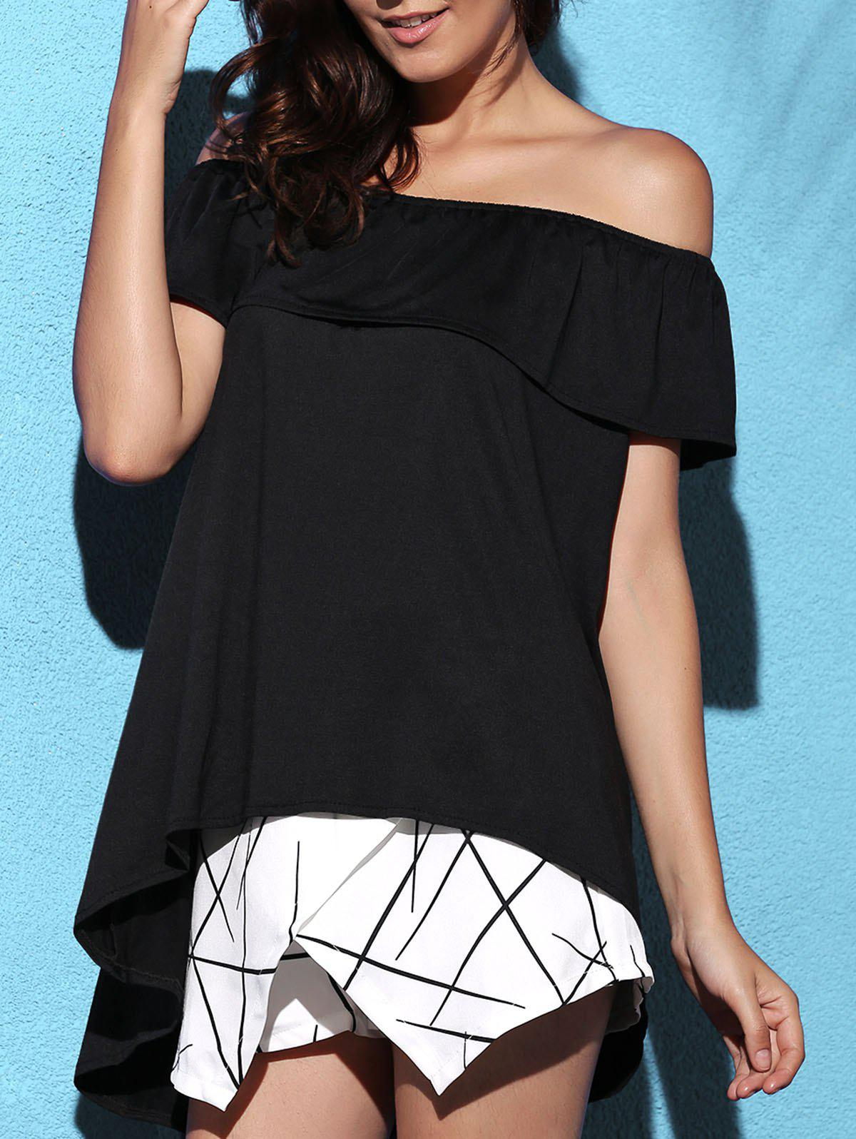Stylish Off-The-Shoulder Solid Color Asymmetric Blouse For Women - BLACK ONE SIZE(FIT SIZE XS TO M)
