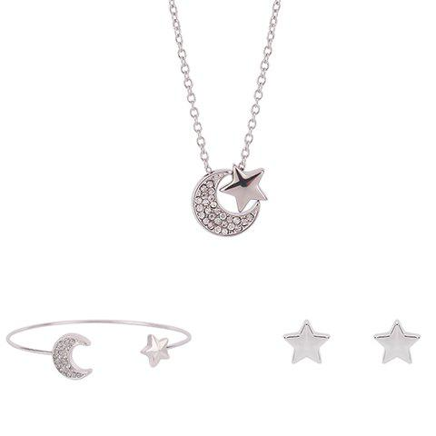 Rhinestoned Star Crescent Shape Jewelry Set (Necklace+Bracelet+Earrings) - SILVER