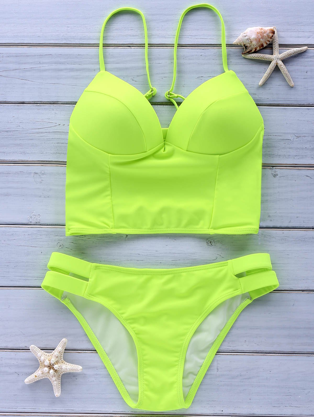 Trendy Spaghetti Strap Solid Color Criss-Cross Women's Bikini Set - FLUORESCENT YELLOW L