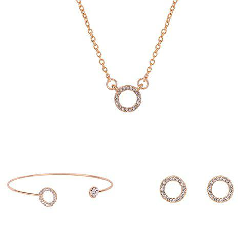 Ring Shape Rhinestoned Jewelry Set (Necklace Bracelet and Earrings) - GOLDEN