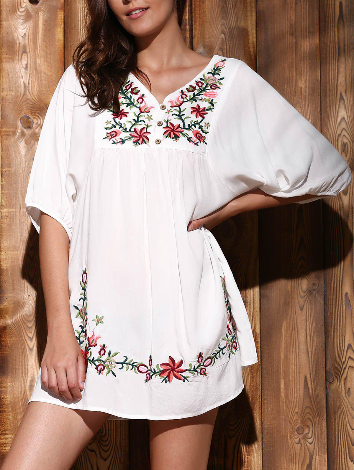 Ethnic Style V-Neck Button Design Embroidered Women's Dress