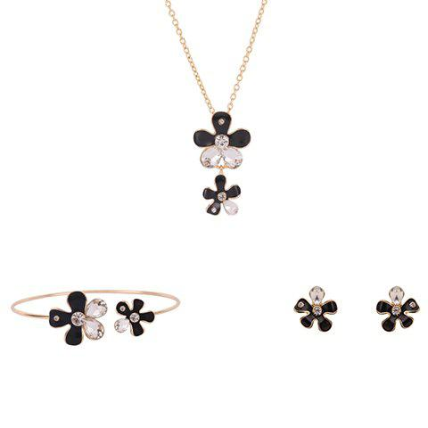 Flower Shape Rhinestoned Jewelry Set (Necklace Bracelet and Earrings) - COLORMIX