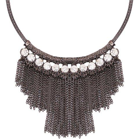 Rhinestone Chains Necklace - BLACK