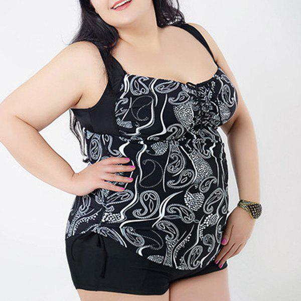 Brief Women's Sweetheart Neck Floral Print Swimsuit - BLACK 2XL