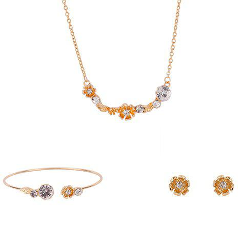 Stylish Rhinestoned Flower Leaf Shape Jewelry Set (Necklace+Bracelet+Earrings) For Women