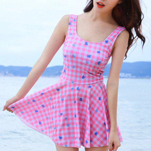 Sweet Women's Checked Floral Print Swimsuit - PINK XL