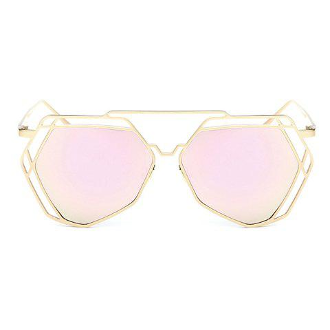 Chic Hollow Out Polygon Frame Women's Golden Sunglasses