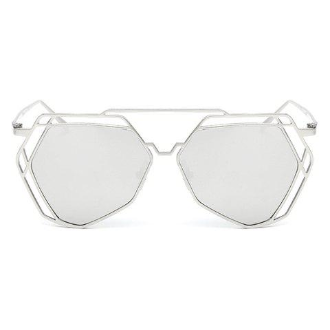 Chic Hollow Out Polygon Frame Women's Silver Sunglasses - SILVER