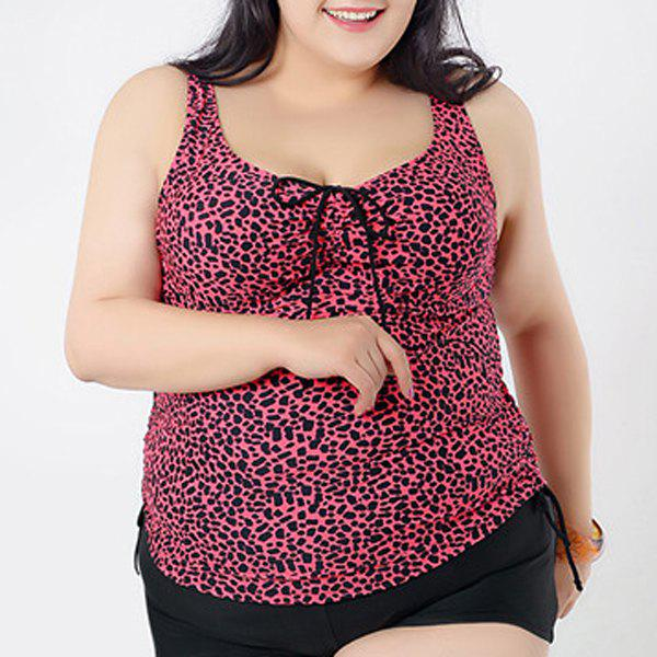 Brief Women's Sweetheart Neck Leopard Swimsuit and Boxers - ROSE 4XL
