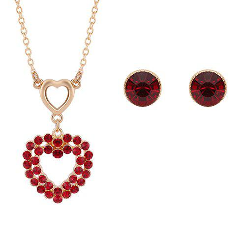 A Suit of Stylish Faux Ruby Heart Shape Necklace and Earrings For Women