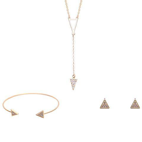 Triangle Shape Rhinestoned Jewelry Set (Necklace Bracelet and Earrings) - GOLDEN