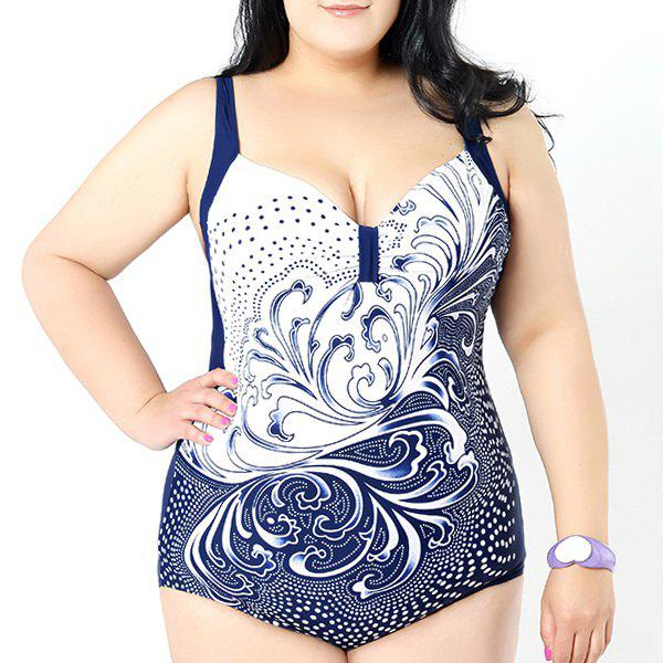 Chic Women's Sweetheart Neck Wave Print Swimsuit - WHITE 3XL