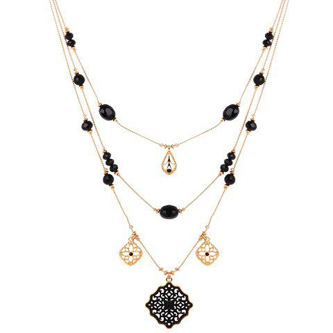 Multilayered Floral Water Drop Necklace - GOLDEN